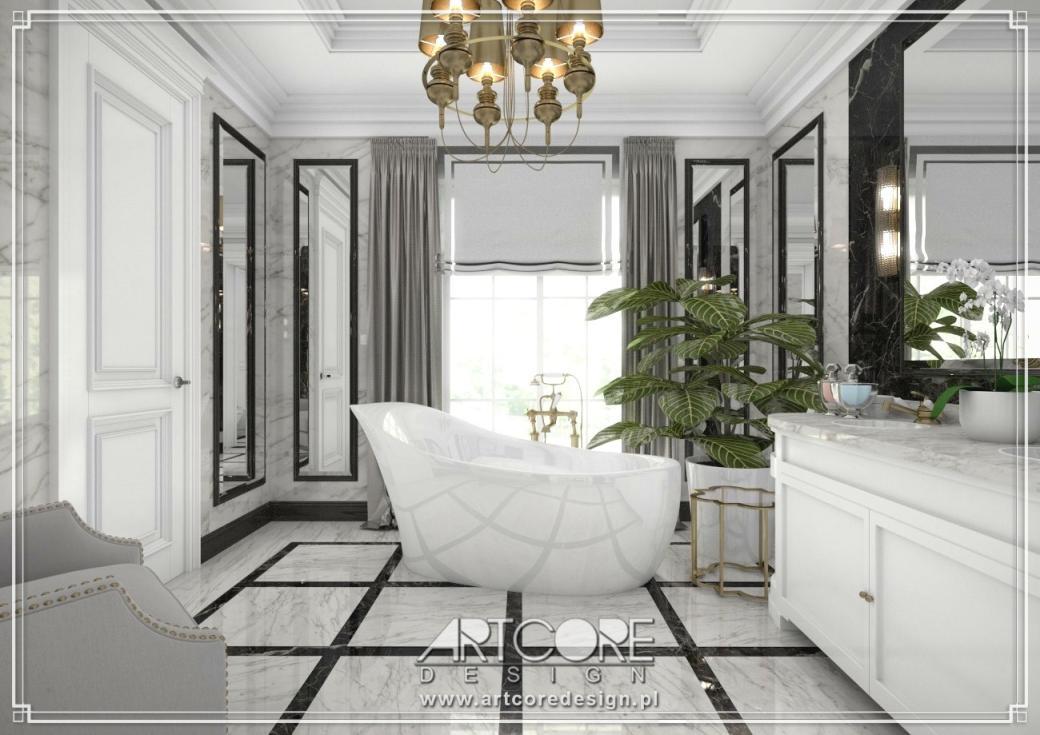 luksusowa łazienka projekt wnętrza z wanną wolnostojącą