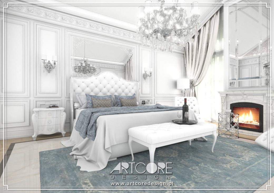 luksusowa sypialnia projekt wnętrza ze sztukaterią