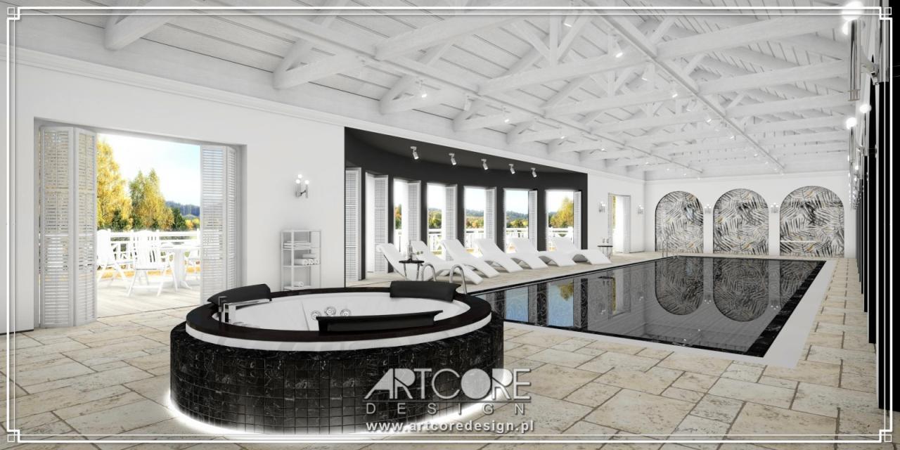 luksusowy projekt wnętrza basenu z jacuzzi