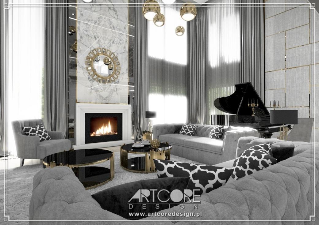 luksusowy salon projekt wnętrza z kominkiem