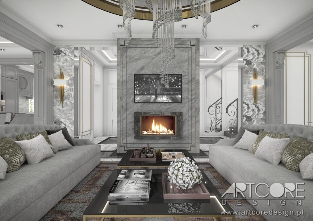 luksusowy salon projektowanie wnętrz