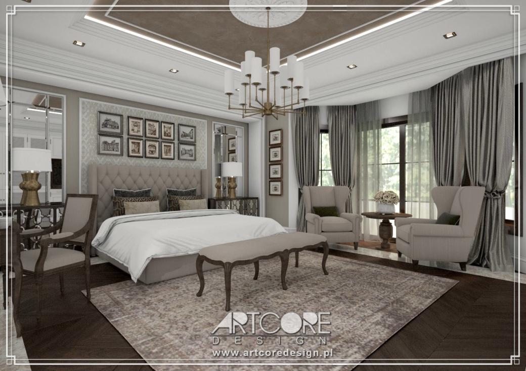 projekt wnętrza luksusowej sypialni w stylu amerykańskim